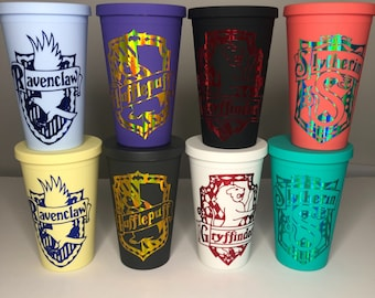 Personalised Harry Potter, Slytherin, Gryffindor, Hufflepuff tumbler, Starbucks cup, Strata cup, reusable  personalised gift, birthday gift