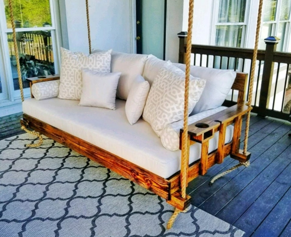 Decorative Porch Swing Family Wooden, Patio Bed Swing