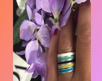 TRES CHIC Handmade-Colorful Enamel Stack Rings-Fashion Ring-Valentines Day Gift-925 Sterling Silver Ring