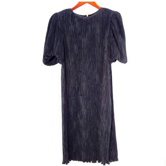 Nuit Pleated Silk Long Puffy Sleeve Dress Crinkle