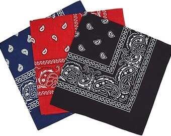 White Red 3 Pack 100/% Cotton Paisley Bandana Scarf Scarves Headband  Black