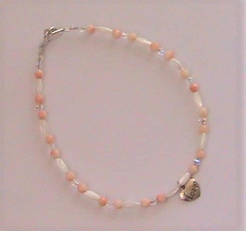 Coral and Crystals Anklet with Mother of Pearl