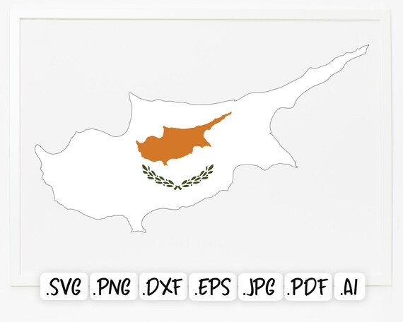 Vector Europe Country Map Scrapbook Silhouette Cyprus Map Flag Map of Cyprus SVG Design Cricut National Cyprus Flag Cut File