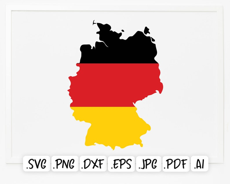 National Europe Country Map Scrapbook Germany Map Cut File Cricut Flag Map of Germany SVG Design Germany Flag Silhouette Vector