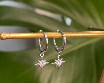 Sterling Silver star earrings, Christmas Star earrings, gifts for her, best friend gifts, star silver hoop earrings, dangle earrings