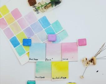 "Set ""DREAM OF MAGIC"" composed of 5 craft and vegan watercolours"