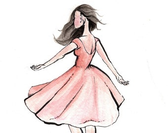 "Watercolor Art Print ""Be Free""-Illustration- Art Print-Girl Twirling Pink Dress-Simple Artwork"