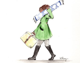 """Watercolor Art Print """"Crosstown""""-Illustration- Art Print-Girl Carrying Rug-Simple Artwork"""