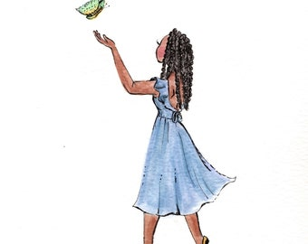"""Watercolor Art Print """"Hope Is the Thing...""""-Illustration- Art Print-Girl with Butterfly-Simple Artwork"""