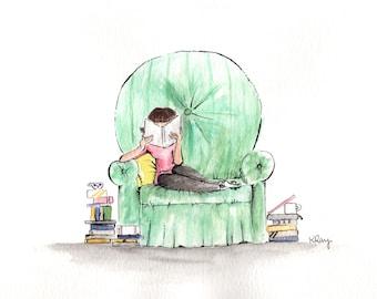 "Watercolor Art Print ""Happy Place""-Illustration- Art Print-Girl Reading Armchair-Simple Artwork"