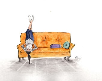 """Watercolor Art Print """"Put Your Feet Up""""-Illustration- Art Print-Girl Reading on Couch-Simple Artwork"""