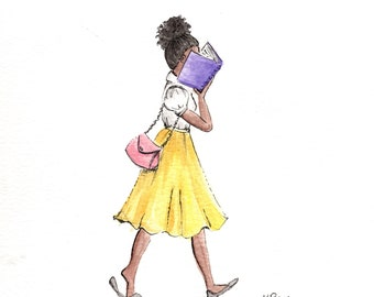 """Watercolor Art Print """"Stepping Out""""-Illustration- Art Print-Girl Reading-Simple Artwork"""