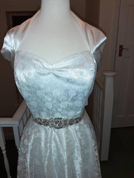 50s 60s ivory floral lace halter neck rockabilly … - image 4