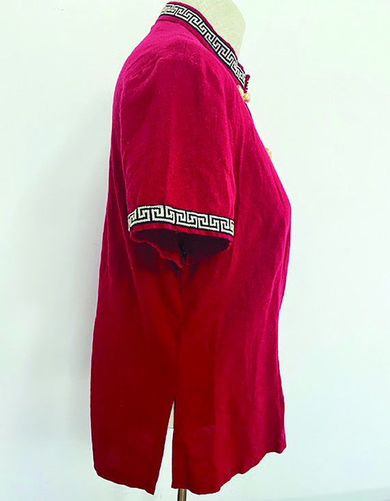 Adorable Vintage Asian Inspired Red Linen TOP - image 5