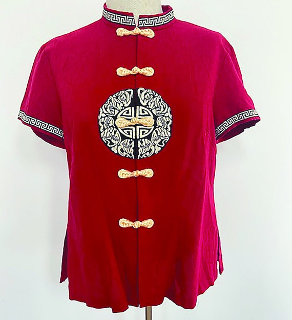 Adorable Vintage Asian Inspired Red Linen TOP - image 1
