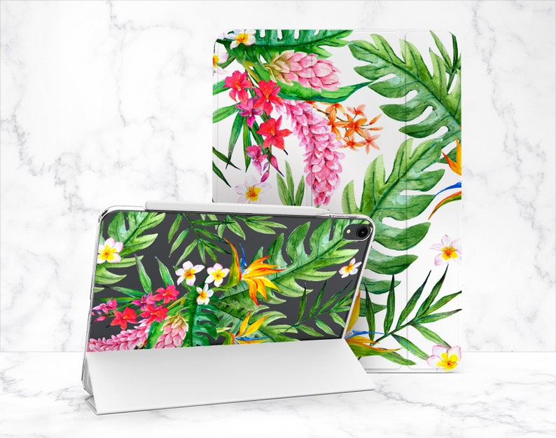 Floral Blossom iPad Case 12.9 Tropical Leaves Case iPad Pro 11 2020 Mini iPad 4 iPad Case 2017 iPad 2018 9.7 Case iPad 10.2 Air 2 Book Case