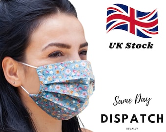 Face Mask, Filtered Face Mask, Washable Face Mask, Made in UK, Same Day Shipping, Unisex, Cotton, Reusable, Breathable