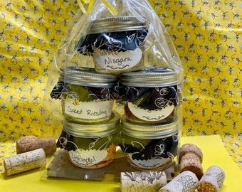 Wine Jelly 4oz Jars Gift 5 Pack Bags - Sangria, Merlot, Pink Moscato, White Zinfandel, White Niagara - Homemade Canned - Bees Knees Jelly