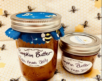 Pumpkin Butter 4oz - 8oz Jars - Homemade Canned Spread - Fall Fun - Bees Knees Jelly