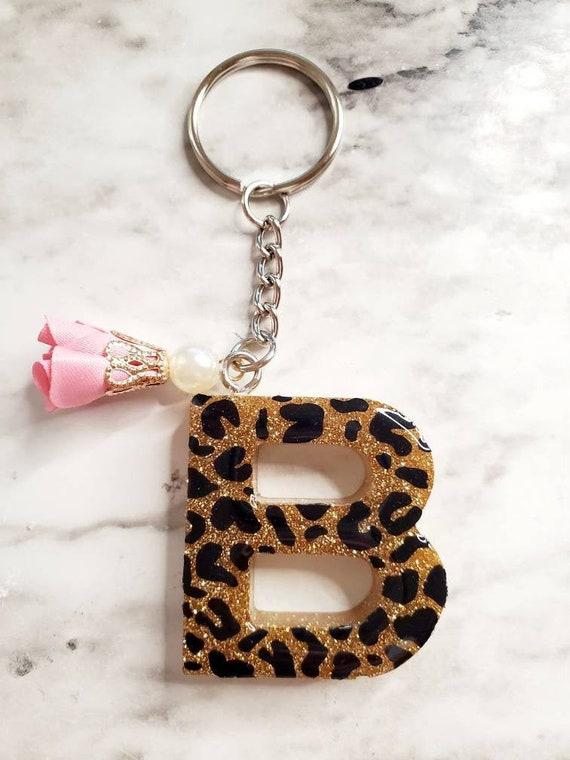 Animal print glitter keychain Leopard print custom resin keychain Handmade initial keychain