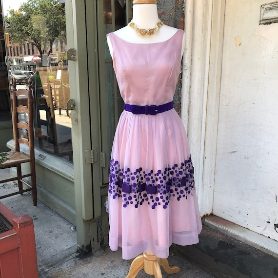 Vintage 1940s, 1950s Aldens Lilac and Purple Chiff