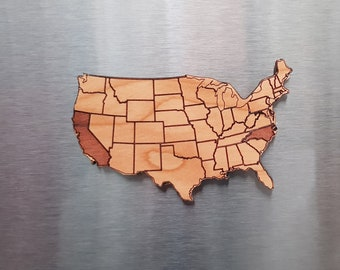 Personalized wooden magnets, USA map, States, gift, Housewarming gift, USA, States
