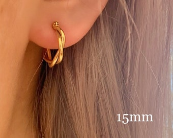 Twist Gold 18k Gold Hoop Earrings •  Hypoallergenic Titanium Fill •  18k Gold Plated Simple Dainty •  Minimalist
