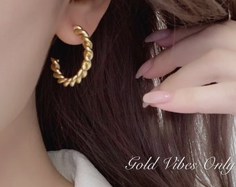 Twisted Fate 18k Gold plated Hoops