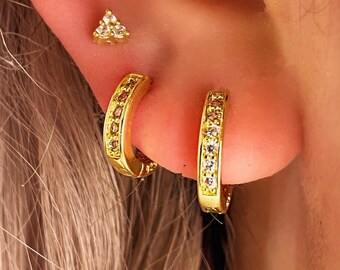 Pave Huggie Hoop • Hypoallergenic 14k Earring Diamond •  Hypoallergenic 18k Gold Plated Titanium •  Fill Gold Rose Gold Silver