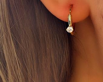 Gem Teeny Tiny Huggie Hoop • Hypoallergenic 18k Earring Diamond • Hypoallergenic 18k Gold Plated • Titanium Fill Gold Rose Gold Silver