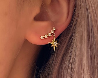 Star Asymmetrical Stud • Textured Hypoallergenic 925 Silver Gold • Titanium Minimalist Minimalistic • Dainty Click Close