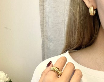 Dome Croissant 18k Gold • Chunky Ring Twist Thick • Signet Bubble 18k Ring • Gold plated  - minimalistic