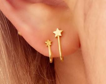 Star Double Stud Earring • Gold Huggie Hoop Textured Hypoallergenic • 18k Gold Titanium Minimalist Minimalistic • Dainty Click Close