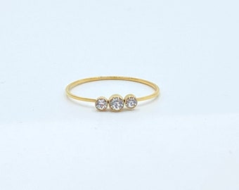 Thin Gold Band •  Dainty 18k Ring •  Delicate Simple Stackable •  Tiny Gold Dainty Minimalistic