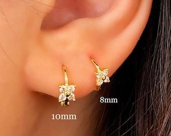 Tiny Flower Earrings • CZ Dainty Earrings • Huggie Hoops Earrings •  Cubic Zirconia Earrings • Minimalist Earrings • Gift for Her