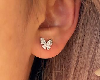 Butterfly CZ Stud Earring Gold • Textured Hypoallergenic 18k Gold • Titanium Minimalist Minimalistic Dainty Click Close