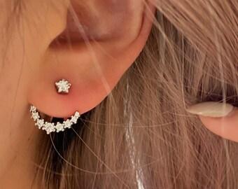 Tiny CZ Front Back Studs • CZ Dainty Earrings • Small Stud Earrings •  Cubic Zirconia Earrings • Minimalist Earrings • Gift for Her