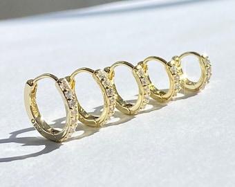 Tiny Huggie Hoop CZ Earrings • 14k Gold Pave Dainty Earrings • Huggie Hoops Earrings •  Earrings • Minimalist Earrings • Gift for Her