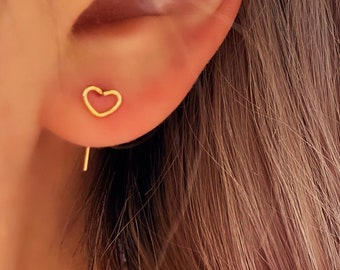Dainty Wire Heart Stud • Earring Gold  Textured • Hypoallergenic 18k Gold Titanium • Minimalist Minimalistic Dainty Click Close