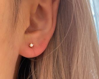 Dainty Stud Earrings • Tiny Cz Titanium Hypoallergenic • Cubic Zirconia Studs • SImple Minimalist Studs