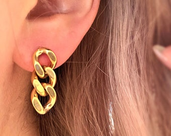 Chunky Gold Chain Earrings • Hypoallergenic Titanium Dangle • Thick Statement Edgy 18k • Gold Plated Nickel Free