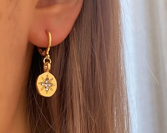 Star Charm Earrings Dainty • Dangle Minimalist Simple Dangly Gold • Hypoallergenic 18k Gold Plated Delicate