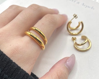 Gold Double Band Ring Earring Set Layered 18k Stack Stackable Minimalist Titanium Simple