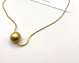Simple Gold Pearl Ball Gold Necklace Layering Stacking Minimalist 18k Gold