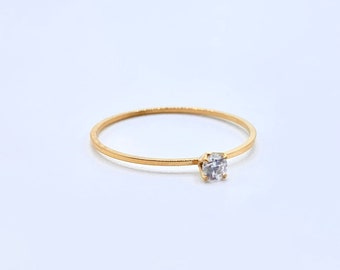 Thin Gold Ring •  Dainty 18k Band •  Delicate Simple Stackable •  Tiny Gold Dainty •  Minimalistic •