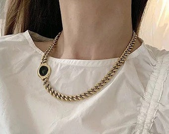 Chain 18k Gold Necklace Onyx Mother of Pearl Layering Minimalistic Chunky Stacked Shiny Minimalist Adjustable Stackable