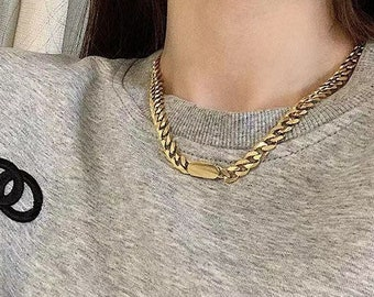 Gold Chain Necklace Chunky Thick 18k Gold Cuban Chain Chunky 18k Plated Titanium