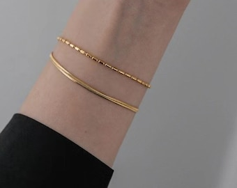 Layered Chain Double 18k Gold Bracelet Layering Minimalistic Tiny Stacked Shiny Minimalist Adjustable Stackable Arm