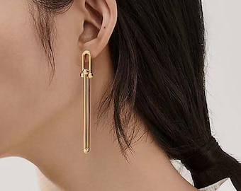 Dangly Oversized Gold Earrings Dramatic Long 18k Hold Titanium Dangly