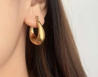 Hoop Tapered Gold 18k Hypoallergenic Gold Silver Titanium Earrings nickel Free Gold Plated